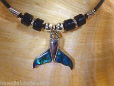 23mm Hawaiian Whale Tail Flukes New Zealand Paua Abalone Shell Bead Necklace #2