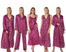 Damen Lange Pflaume Geblümt Satin Chemise Nachthemd Bademantel Pyjama-Sets