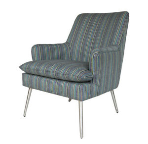 BRAND NEW Luxury Soft Striped Arm Chair with Chrome Legs 2 COLOURS