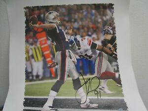 Justin Tuck New York Giants Autographed 'Sacking Tom Brady' 20x24 Canvas