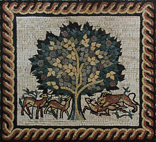 Famous Tree Of Life Animals Rope Border Home Decoartion Marble Mosaic Fl933