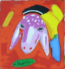 Menashe Kadishman Original Hand Signed Serigraph Sheep in Purple Silkscreen