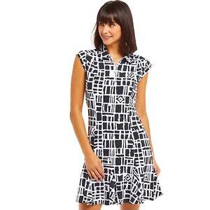 IBKUL Out of the Box Sleeveless Polo Dress Black/White XS XL Golf UPF 50 1/4 Zip