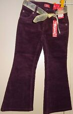 Girls Levis Size 5 Burgundy Corduroy Belt Stretch Adjustable Waistband New NWT