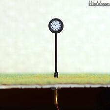 4 pc HO antique station plate-forme horloge LED lampadaire illuminé 2 côtés