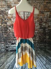 ROMEO AND JULIET COUTURE Twisted Strap DRESS SIZE M RETRO STRIPE Coral JJ182
