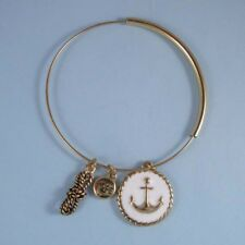 Designer Look Nautical White Anchor Charm Silver Bangle Expandable Bracelet, USA