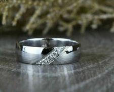 Solitaire Men's Band Ring Engagement Wedding Ring 1.2 Ct Diamond 14K White Gold