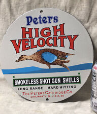 1950'S VINTAGE PETERS HIGH VELOCITY SHOT GUN SHELLS PORCELAIN ADVERTISING SIGN