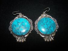 HUGE Southwestern Detailed Silver Spider Web Turquoise  Alpaca Earring~Mexico