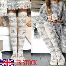 Women Over Knee Wool Knit Long Socks Winter Thigh-Highs Warm Socks Stocking UK
