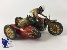 JOUET ANCIEN CKO TOURIST 370 MOTO SIDE CAR MECANIQUE CLOCKWORK MOTORCYCLE C.1930