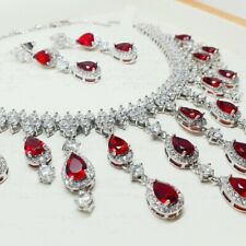 White gold finish pearcut red ruby and created diamond droplet necklace set