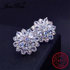 JUNXIN Snowflake CZ 925 Sterling Silver Stud Earrings Wedding Jewelry For Women
