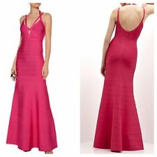 Herve Leger S Adalet Bright Pink Dress Gown-$1590.00-Small