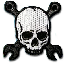 Cross Wrench Skull Patch Iron On Motorcycle Biker MC Club Sew Racing Badge Rider