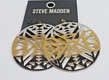 "Earrings - New - Pierced A75) Steve Madden 2-3/4"" diameter Shimmering"