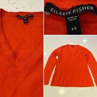 Eilleen Fisher Women's 100% Cashmere Orange Sweater Top Pullover V Neck Sz XS