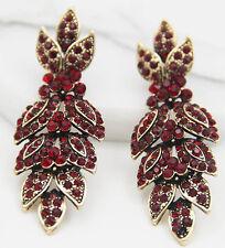 Long Ear Stud Hoop earrings 264 Woman's Red Crystal Rhinestone Silver Plated