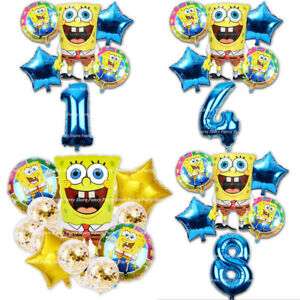 6Pcs Large SpongeBob Foil Balloons 30inch Gold Number Balls Happy Birthday