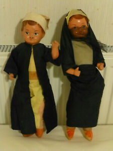 "A girl and boy pair of Vintage 14"" Asian or Muslim? dressed dolls"
