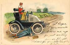 1900s postcard -  broken down car !