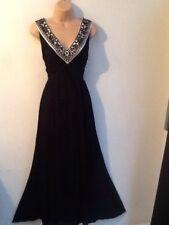 JIGSAW size L Beautiful Bead Embellished Maxi Occasion Dress In Black