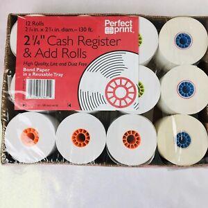 "12-2 1/4"" Cash Register & Add Rolls 130 ft. Perfect Print High Quality Case"