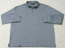 Walter Hagen Essentials Polo Shirt Gray Poly XL 3-Button Long Sleeve X-Large Man