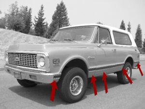 1969-1972 Chevy Truck Door Trim Moldings Front+Rear+Right+Left Side 4 Pcs Set
