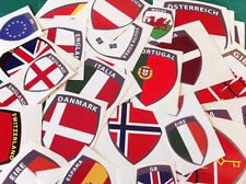 10x SHIELD FLAGS FULL COLOUR STICKERS HELMET/BIKE/CAR 42x32mm ANY COUNTRY
