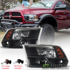 2009-2018 Dodge Ram 1500 10-18 2500 3500 Headlights Black Quad Style Headlamps