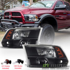 2009-2017 Dodge Ram 1500 10-17 2500 3500 Headlights Black Quad Style Headlamps