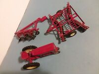 Vintage International Red Toy Tractor 1675 / 3 Piece Equipment  Lot - ERTL CO.