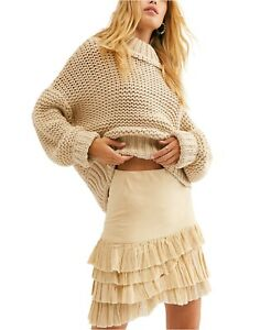 Free People Sweater My Only Sunshine Cowl Neck Beige Sz S NEW NWOT 955