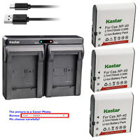 Kastar Battery Dual Charger for Casio NP-40 & Casio Exilim Zoom EX-Z600 Camera