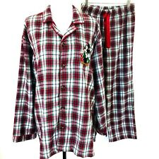 Disney Store Christmas Mens Pajama Set Mickey Mouse Red Green Plaid Medium Large