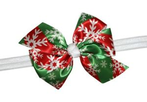 WD2U Baby Girls Christmas Red & Green Snowflake Hair Bow Stretch Headband USA