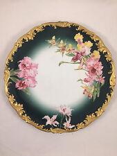 "LIMOGES T&V HANDPAINTED FLORAL FLOWERS 12 5/8"" CHARGER PLATE FRANCE DEPOSE GOLD"