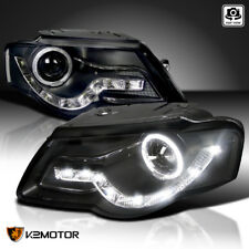 Fit 06-10 Passat B6 Black Halo Projector Headlights+Daytime Running DRL Lamps