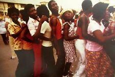 Vintage 1976 Haiti MARDI GRAS PHOTO Haitian MEN BEAUTIFUL WOMEN DANCING Framed