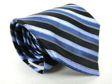 Apt 9 Silk Tie Blue Black And Silver Stripe Classic Necktie 58 x 3.5 New
