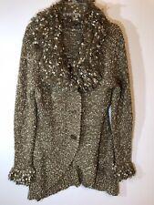 Milano Size Medium Womens Knit Sweater Gold Fluffy Trim Long Sleeve Boho Chic