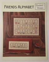 Friends Alphabet Counted Cross Stitch Pattern Leaflet Elizabeth's Designs 2002