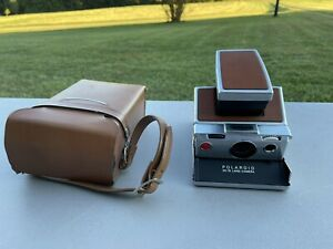 Vintage POLAROID SX-70 Land Chrome Brown Leather Camera and Case, POLICE CAMERA