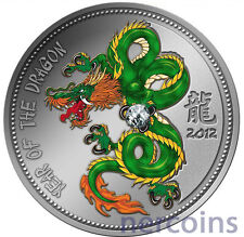 Cameroon 2012 Year of Dragon Zircon Crystal Silver Proof Coin 1000 Francs Rare