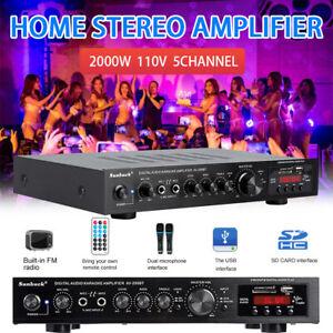 2000W 5CH Bluetooth Home Car Amplifier HIFI Audio Stereo Power Amp FM SD USB