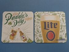 Beer Brewery Coaster ~^~ MILLER Brewing Co Lite ~ A Fine St Paddy's Day Pilsner