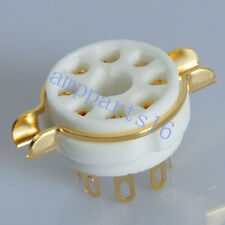 50pcs 8pin Gold Ceramic Vacuum Tube Socket KT66 KT88 EL34 6550 Valve Base Amp