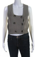 Theory Womens Scoop Neck Double Breasted Crop Sweater Beige Size Small